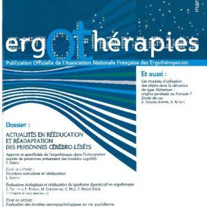 N°33 – Mars 2009 : Actualités en rééducation et réadaptation des personnes cérébro-lésées