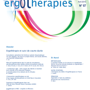 N°57 – Avril 2015 : Ergothérapie et suivi de courte durée