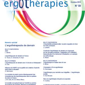 N°59 – Octobre 2015 : L'ergothérapeute de demain